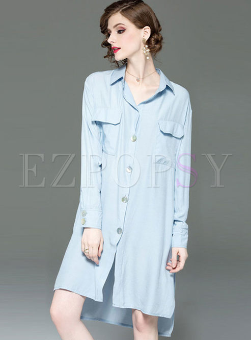 Casual Turn Down Collar Plus Size Shift Dress