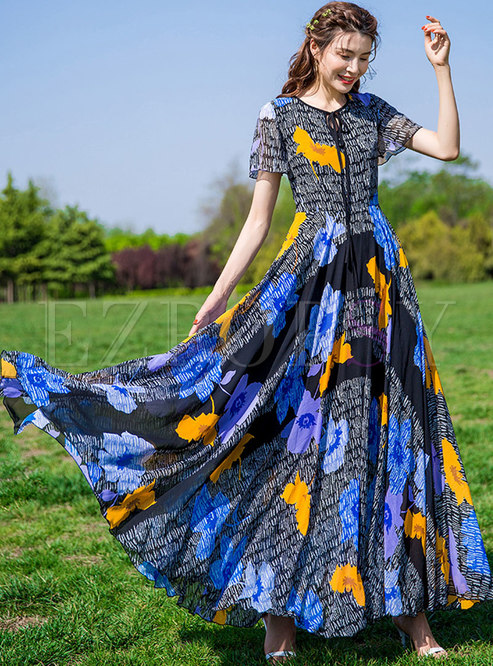Chic Print Tie-collar High Waist Maxi Dress