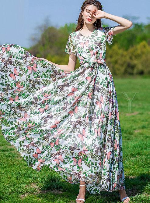 Fashion Short Sleeve Bowknot Waist Print Dress