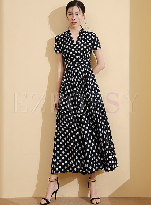 Polka Dot V-neck High Waisted Maxi Dress