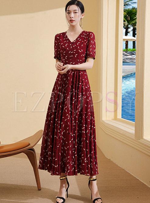 Elegant Print V-neck Slim Maxi Dress
