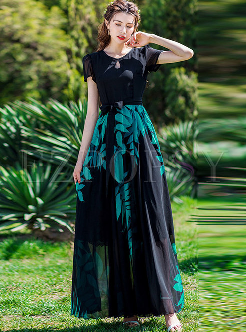 Print Splicing O-neck Belted Hem Maxi Dress
