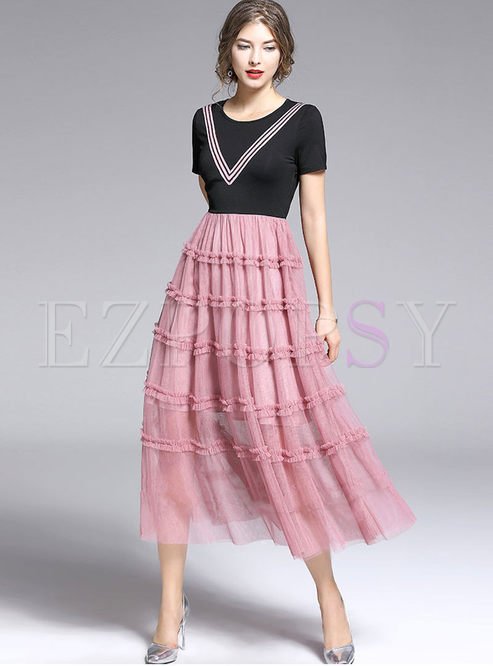 Stylish O-neck Short Sleeve Splicing Mesh Dress