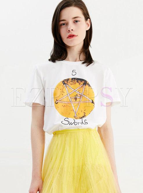 Brief O-neck Star Pattern Pullover T-shirt