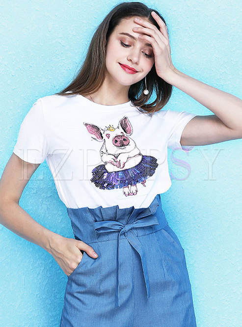 Stylish Sequined Animal Embroidered All-matched T-shirt