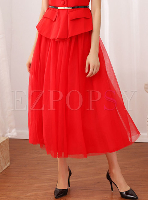 Solid Color Mesh Easy-matching High Waist Skirt