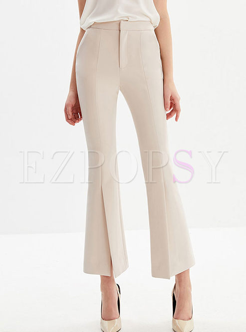 Brief Solid Color High Waist Slit Flare Pants