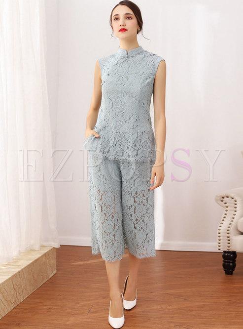 Solid Color Lace Top & Wide Leg Pants