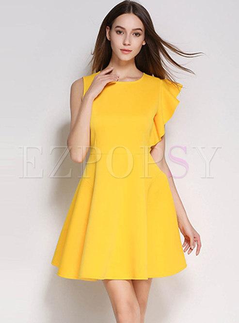 Solid Color O-neck Irregular Skater Dress