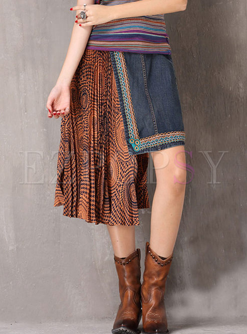 Retro High Waist Denim Splicing Pleated Skirt