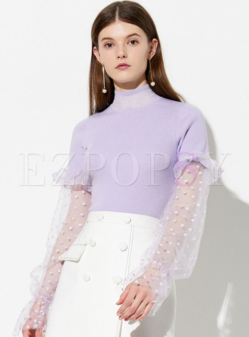 Turtle Neck Mesh Splicing Knitted Top