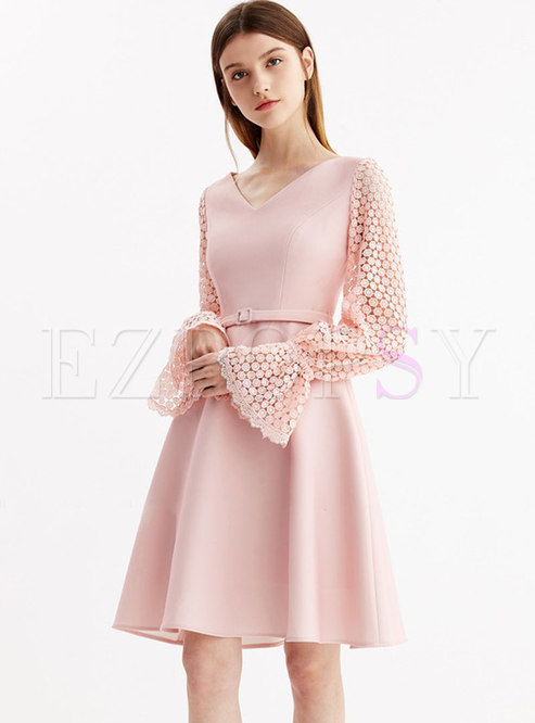 Sexy Hollow Out Lace Pure Color A Line Dress