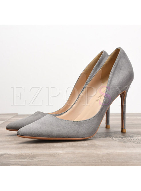 Stylish Pure Color Flock Thin Heel Shoes