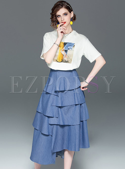 All-matched Print T-shirt & Solid Color Irregular Skirt