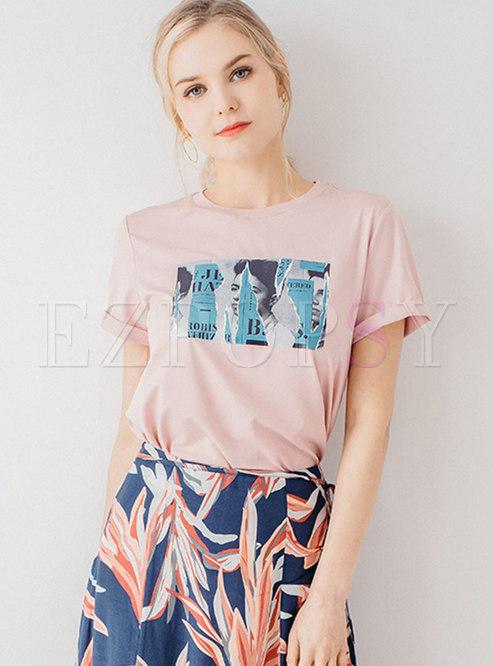 Print O-neck Short Sleeve Loose T-shirt