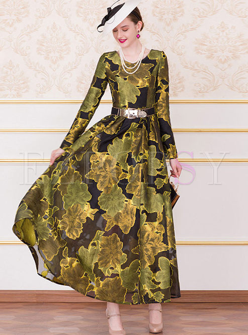 O-neck Long Sleeve Print High Waist A Line Dress