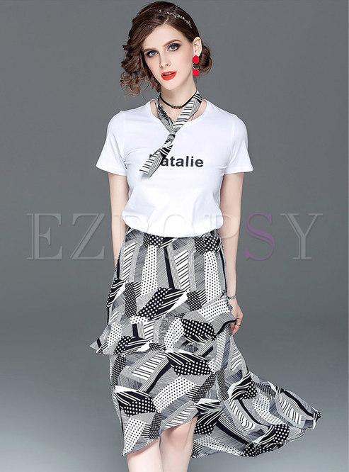 Casual Letter Print Tie T-shirt & Print Asymmetric Skirt