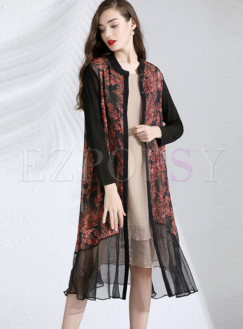 Pure Color Sleeveless Shift Dress & Print Splicing Coat