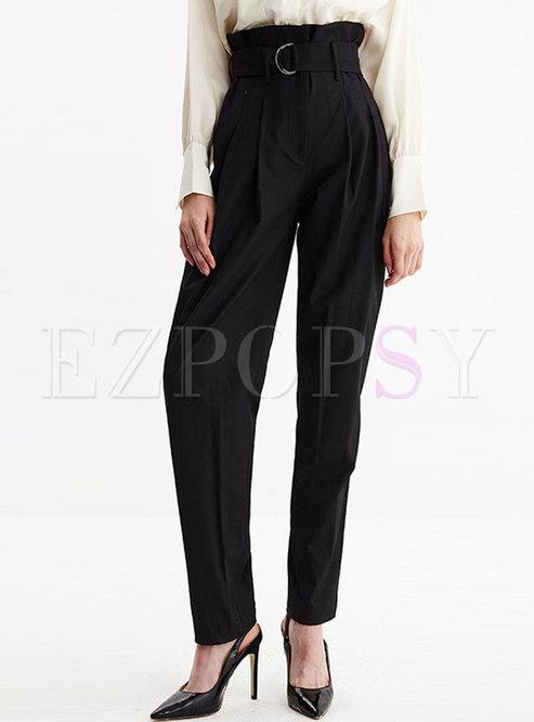 Elegant Black High Waist Harem Pants