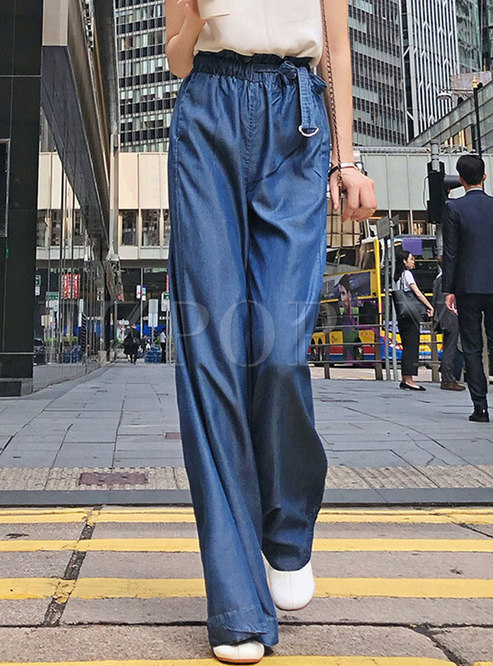 Fashion Summer Tied Street Slim Wide Leg Pants