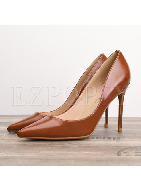 Brief Solid Color Pointed Toe High Heel Shoes