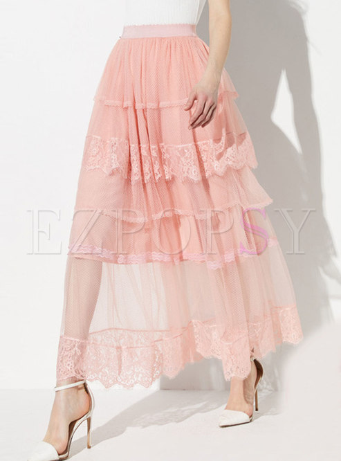 Lace Splicing Mesh Elastic Waist Layered Skirt