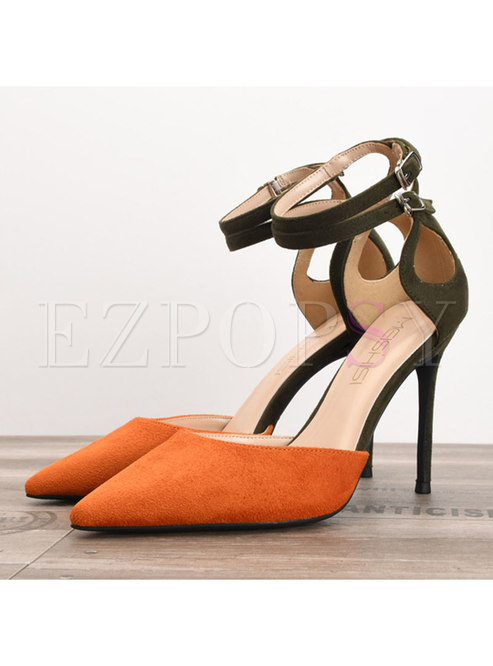 Stylish Color-blocked Pointed Toe Thin Heel Shoes