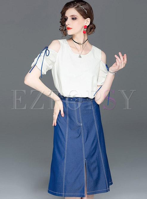 O-neck Off Shoulder T-shirt & Denim Belted Slit Skirt