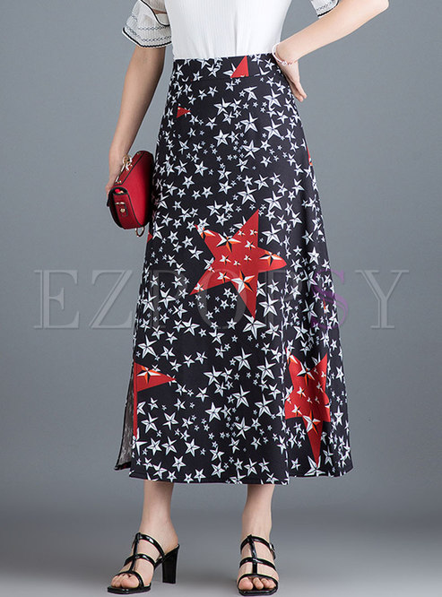 Chiffon Print High Waist Split A Line Skirt