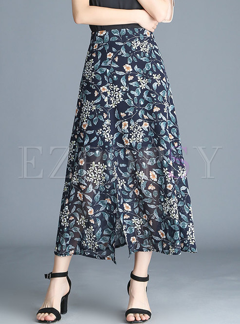 Elegant Floral Print Split Slim Long Skirt