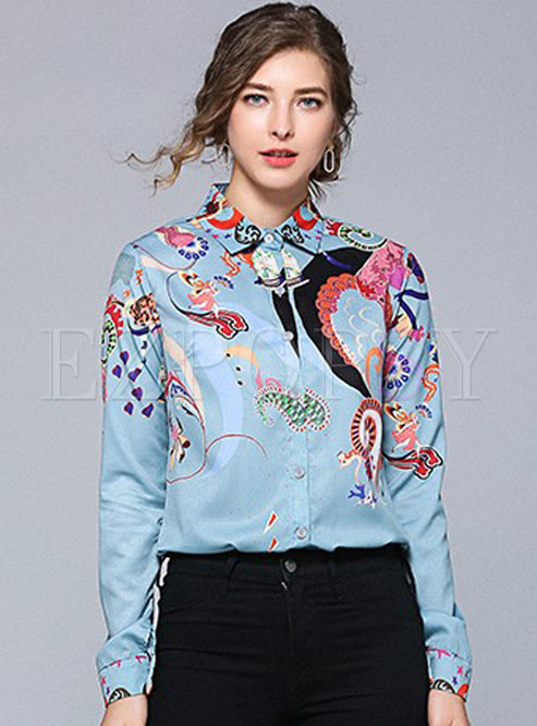 Stylish Lapel All-matched Single-breasted Blouse