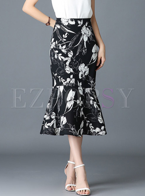 Chic Print Sheath Mermaid Chiffon Skirt