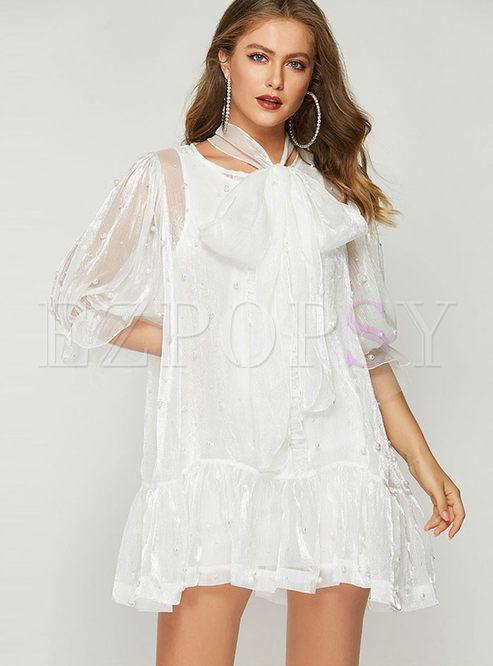 Stylish Half Sleeve Beaded Mesh Big Hem Dress