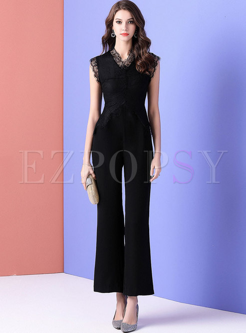 Elegant Work Lace Splicing Sleeveless Slim Jumpsuit