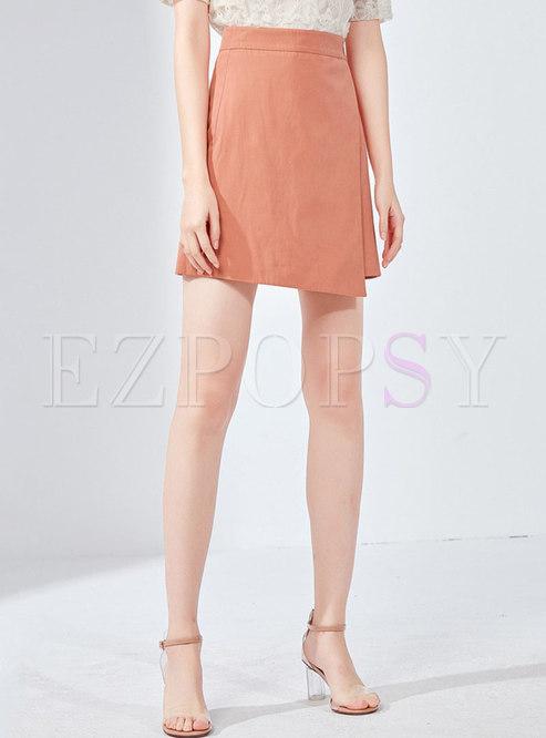 Pure Color High Waist Asymmetric Mini Skirt