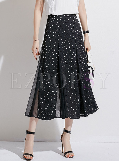 Chic Polka Dot Splicing Mesh A Line Skirt