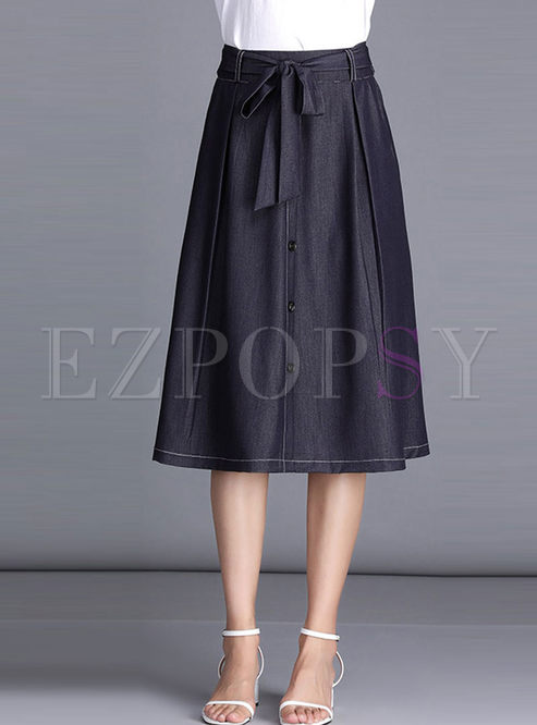 Casual Solid Color High Waist A Line Skirt