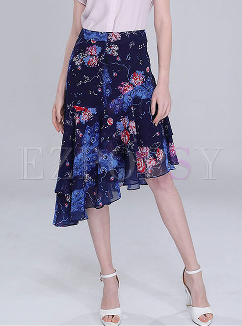 Stylish High Waist Print Chiffon Irregular Skirt