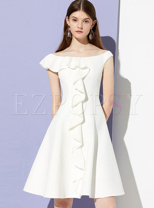 Fashion Slash Neck Solid Color Falbala Dress