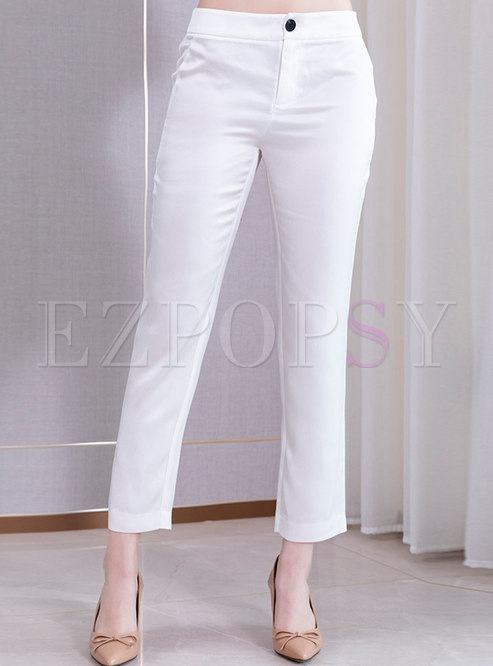 Brief Solid Color Straight Pants
