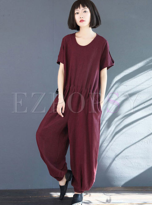 Casual O-neck Short Sleeve Waist Loose Jumpsuits
