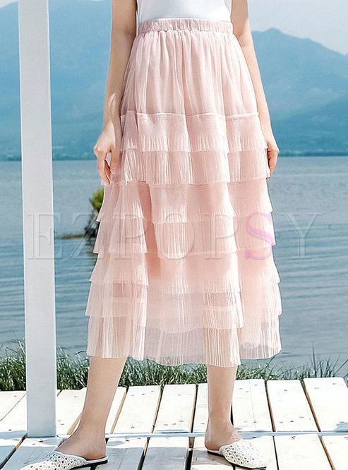 Sweet Pure Color Elastic High Waist Mesh Cake Skirt