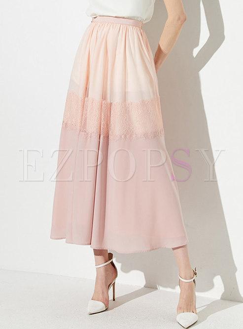 Color-blocked Splicing Elastic Waist Long Skirt