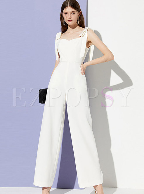 Elegant Sleeveless Tied High Waist Jumpsuit
