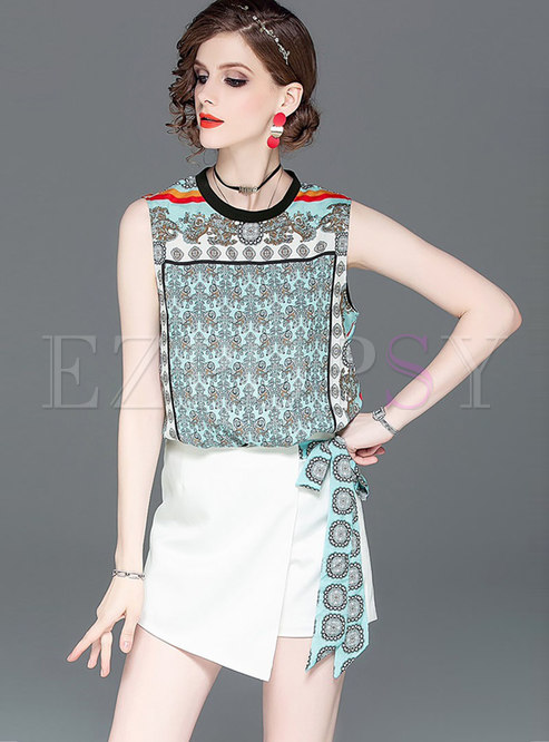 Floral Stand Collar Sleeveless Top & Asymmetric Mini Skirt