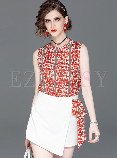 Floral Stand Collar Sleeveless Top & Asymmetric Slim Skirt