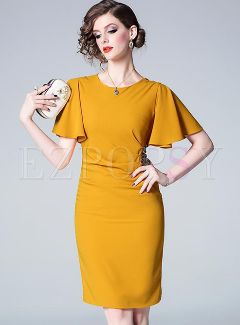 Pure Color O-neck Drilling Bodycon Dress