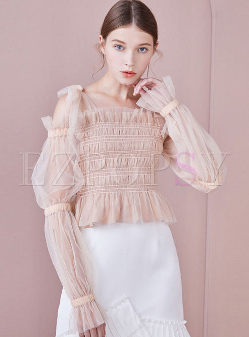 Slash Neck Tied Puff Sleeve Slim Short Blouse