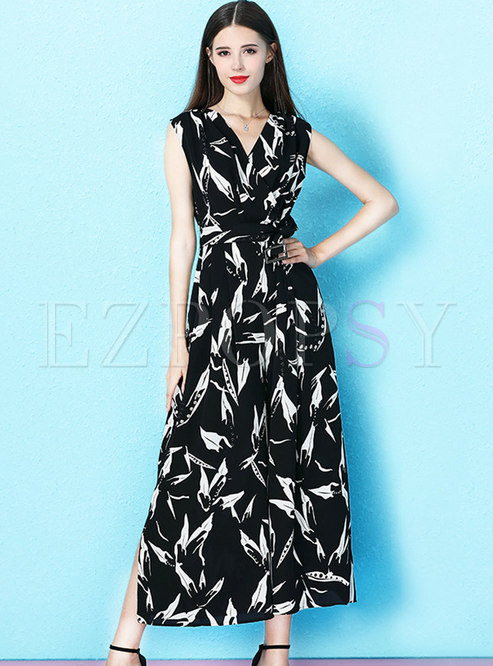 Fashion V-neck Sleeveless Print Tied Split Jumpsuit