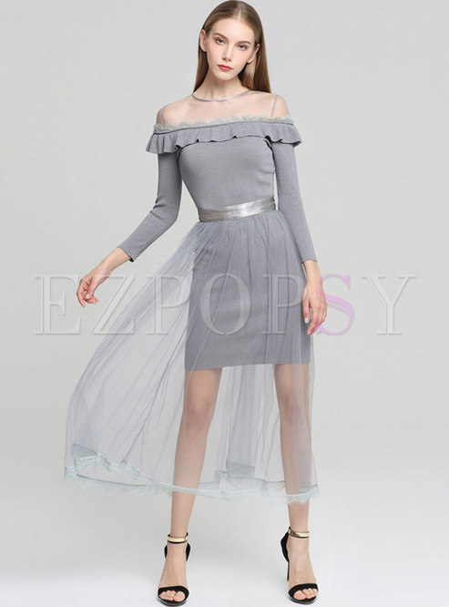 Falbala Pure Color Knitted Dress & Tied Mesh Perspective Skirt